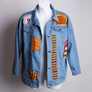 jeans jacket african patch